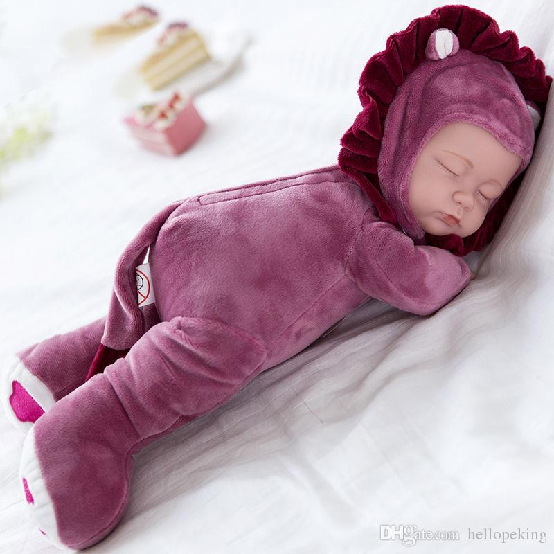 """35 см / 14"""" красный фиолетовый зеленый спящий возрожденный ребенок мягкий винил лицо плюшевые игрушки тела / Лев стиль"""