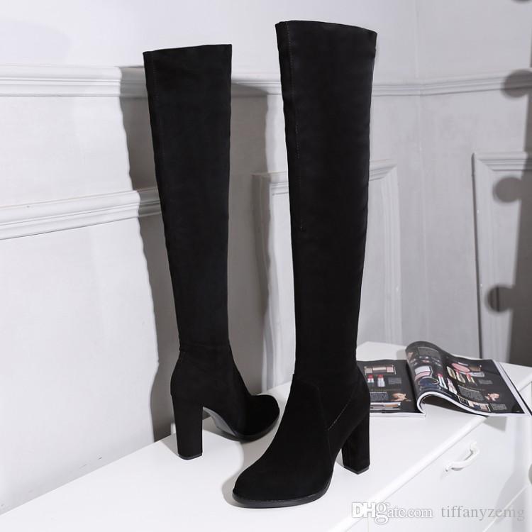 mode femmes bottes chaussures à talons hauts expédition gratuite hiver bottes chaudes bottes filles Stretch Satin Sanding