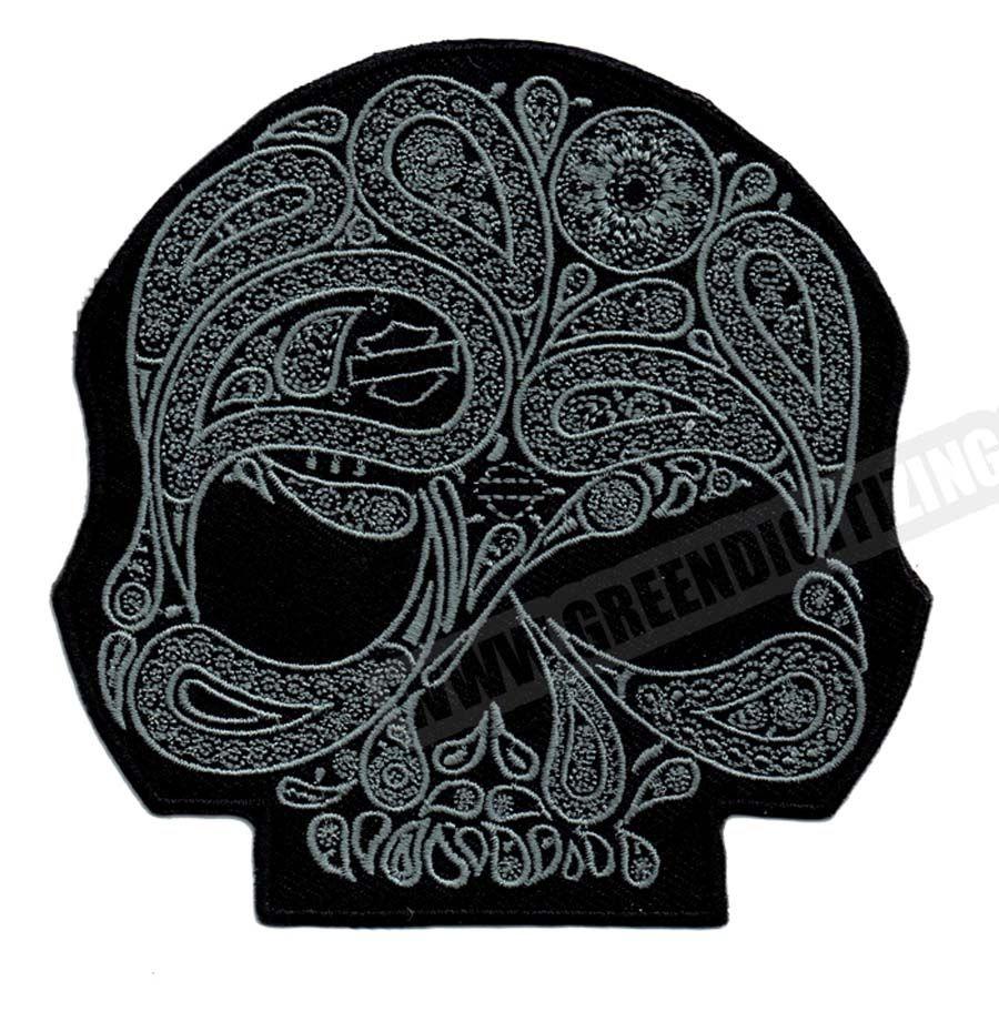 Toppe fresche del motociclo dell'argento del fiore del cranio per il distintivo di applique della toppa del panno di DIY del ricamo del rivestimento della giacca della maglia del punk Trasporto libero