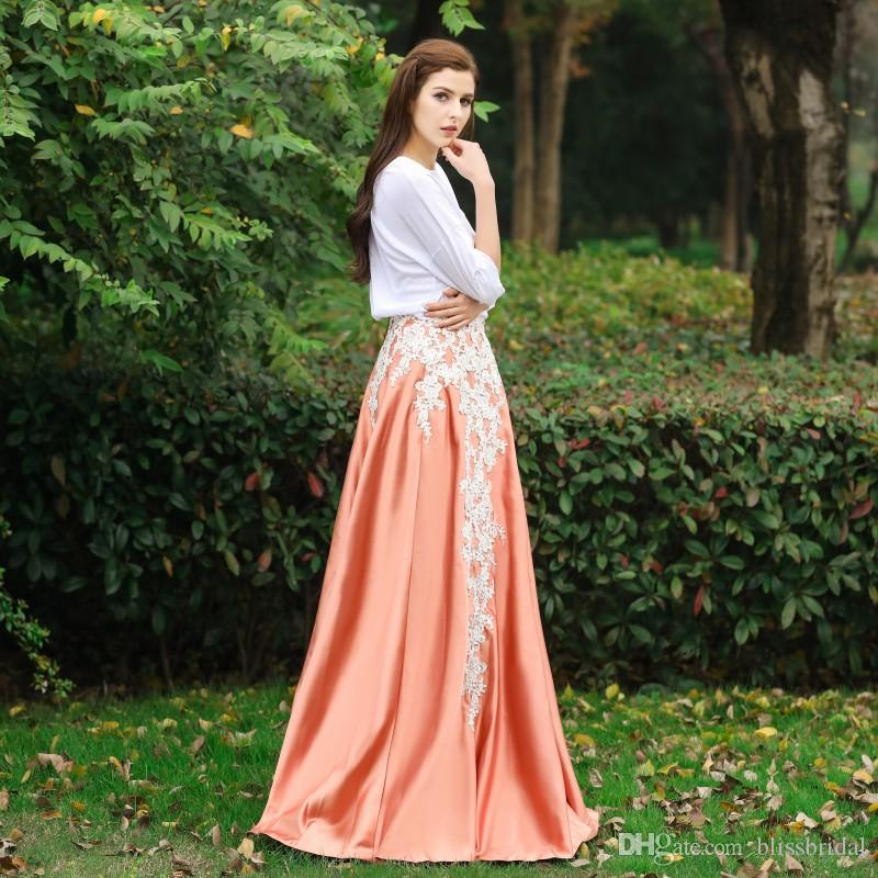 on feet images of new cheap outlet sale Applique Long Formal Satin Skirt For Women Exquisite Invisible Vintage Maxi  Skirts Custom Made 100% Real Image Floor Length Fashion Skirt Canada 2019  ...