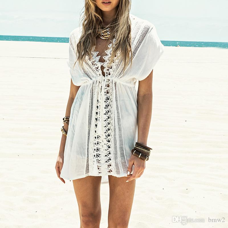 New Beach cover up White Lace Swimsuit cover up Summer Crochet Beachwear Bathing suit cover ups Beach Tunic
