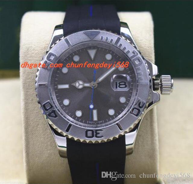 最高品質の高級腕時計116622メンズスチール白金ロジウムダイヤルベビーブルーハンド40mmラバーブレスレットの機械的男性腕時計