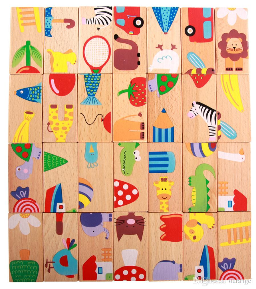 Kid's Montessori Wooden Puzzle Toy Set 28pcs Animal Domino Early Educational Intelligence Development Toys Gift for Kid