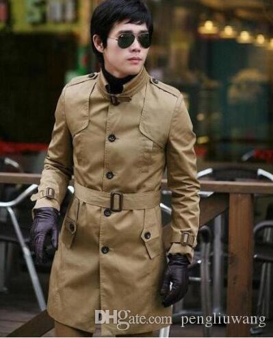 Мода осень тонкий воротник стойка подростка однобортный хаки плащ мужчины верхняя одежда мужские пальто плюс размер S - 3XL