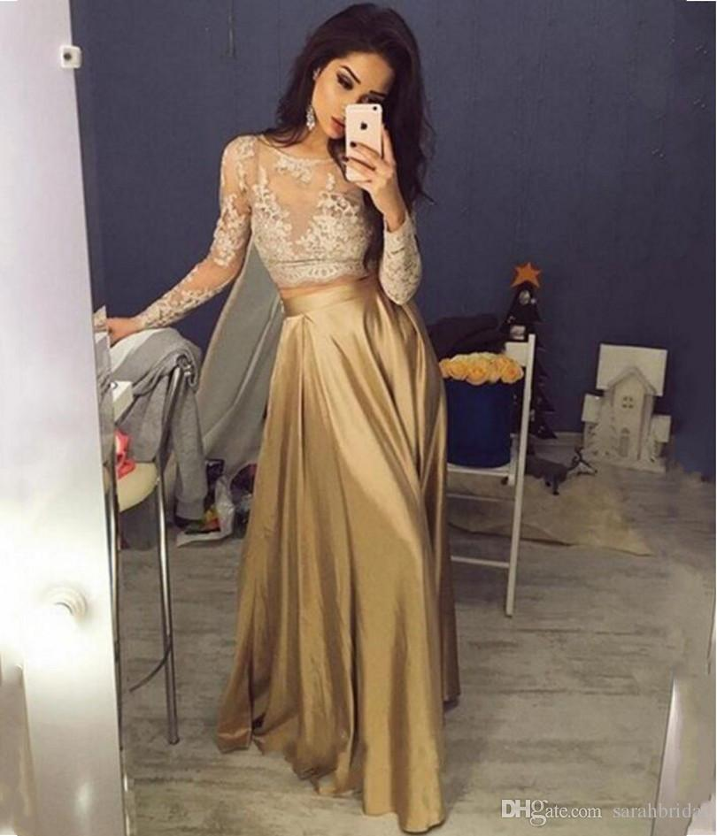 2019 New Evening formal dress Jewel african Special Occasion gold dresses gowns Exquisite A-line long sleeves prom dresses lace