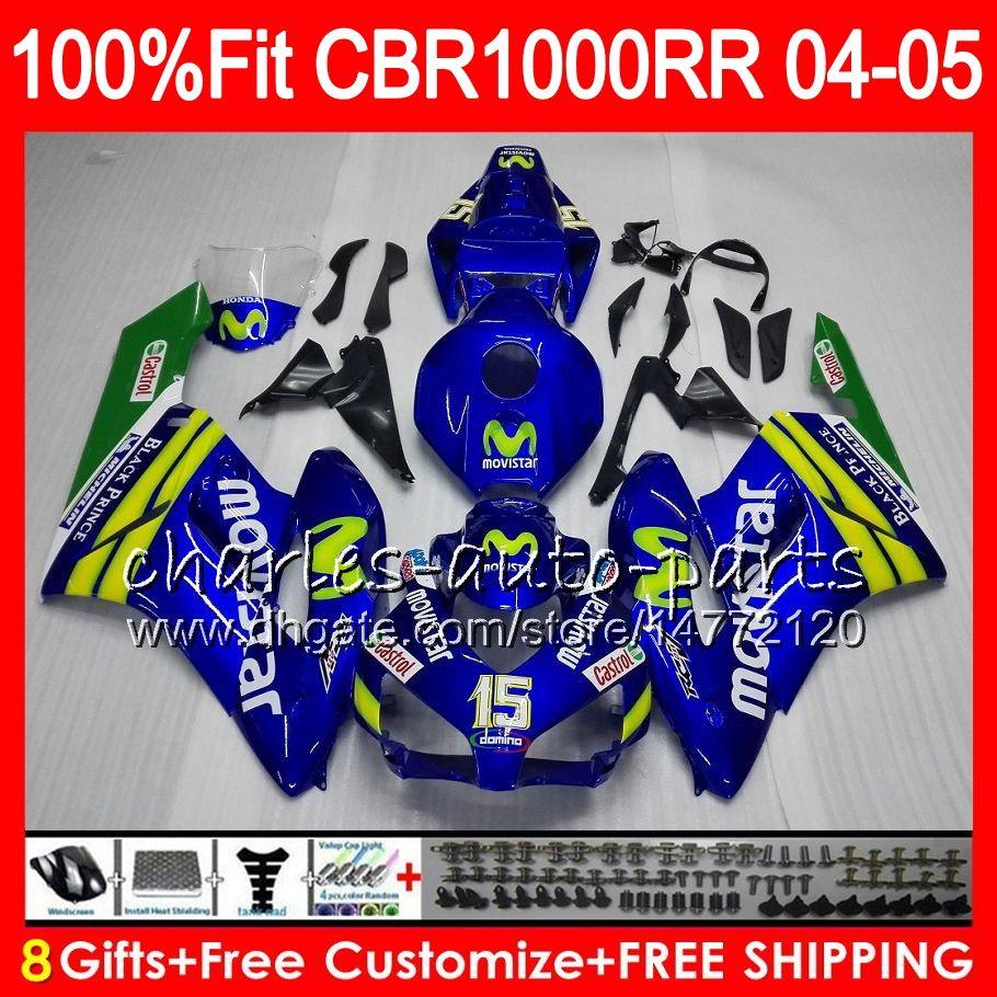 Injektionskropp för Honda CBR 1000RR 04 05 Bodywork CBR 1000 RR MOVISTAR BLUE 9HM16 CBR1000RR 04 05 CBR1000 RR 2004 2005 Fairing Kit 100% FIT