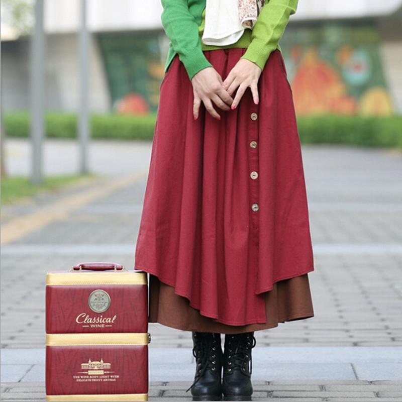 Sonbahar Kış Etek Kadın Yüksek Bel Pilili Etekler Artı Boyutu Rahat Uzun Etek Pamuk Keten Vintage Maxi Etek, Saia, Faldas S198
