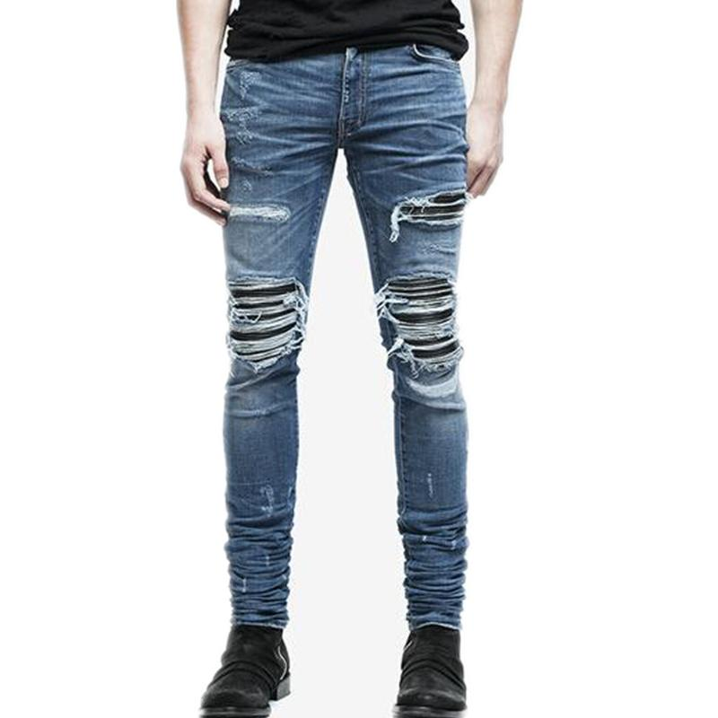 Venta al por mayor-Hombres Jeans Verano Romificado Skinny Biker Jeans Destruido Frayed Slim Fit Denim Pantalones Lápiz Pantalones Lápiz Moda Regular
