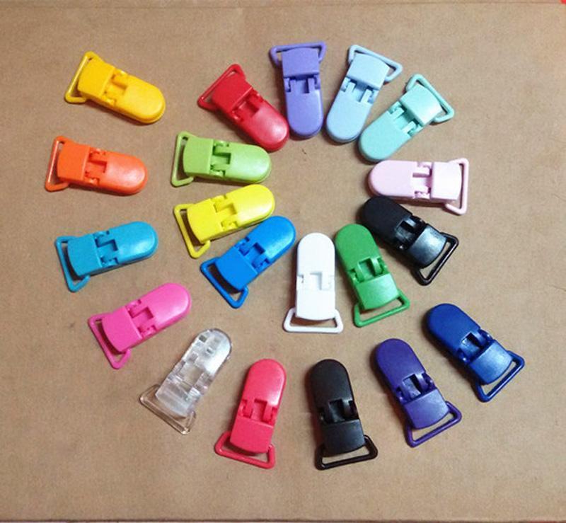 Vente en gros-10pcs / Set Fashion Baby sucette Clip Candy Couleurs Clip en plastique Pacify Soother Clips Plastic Safety Clip Multi couleurs pour bébé