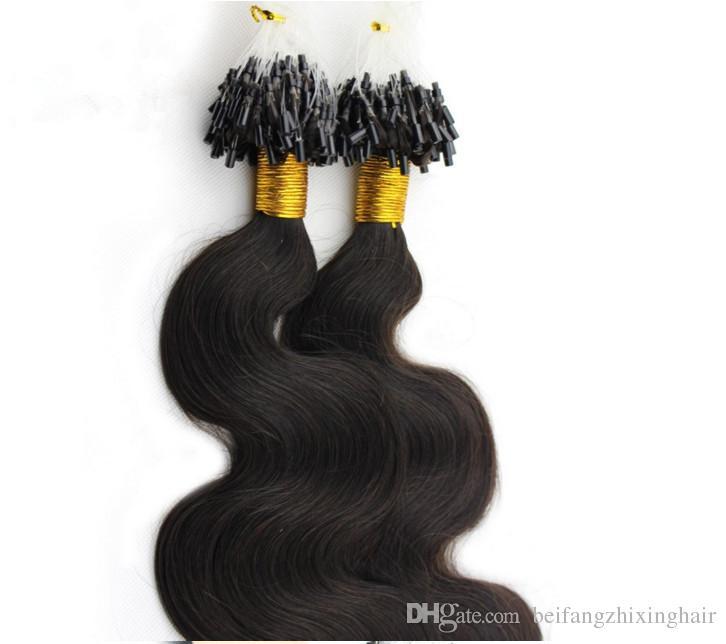 """Capelli remy brasiliani 7A 16 """"-26"""" 1 g / s 100 g / set # 1b naturale nero Loop / Micro anello dell'onda del corpo dell'onda estensione dei capelli, 100% capelli umani dhl libero"""
