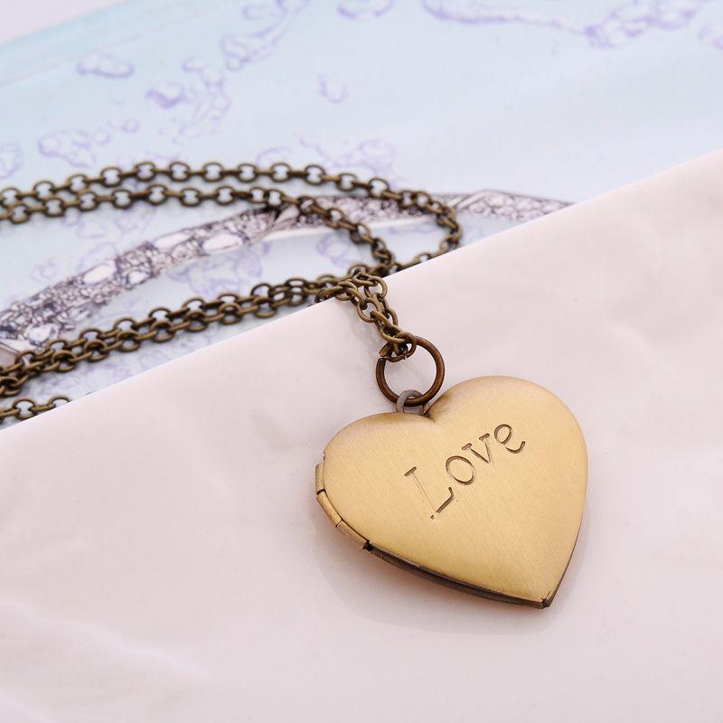 """Femmes Fille Reine Couronne ronde cœur cadre photo médaillon pendentif en acier Collier 18/"""""""