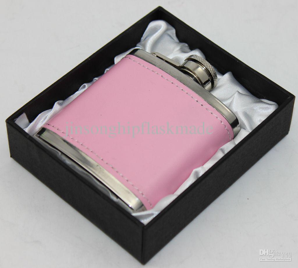 핑크 pu 가죽 포장 3 온스 포켓 플라스 크 블랙 선물 상자