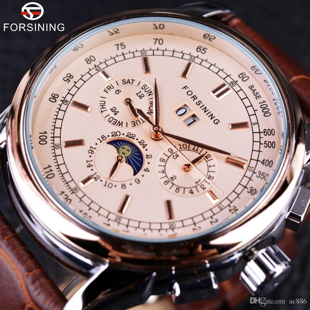 Forsining Moon Phase Shanghai Bewegung Roségold Fall Brown Echtes Lederarmband Herrenuhren Top-marke Luxus Auotmatic Watch + Watch Box