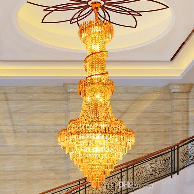 LED Modern Chandeliers Gold Crystal Chandelier Lighting Fixture Luxury Home Indoor Living Room Foyer Stair Long Spiral Pendant Lamps