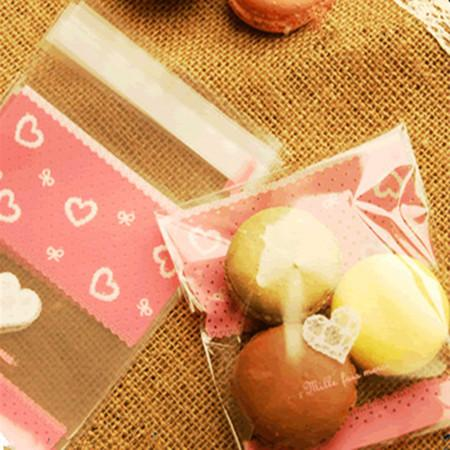 Wholesale sweet hearts self adhesive seal cookie plastic pack bags for gift food candy cookie packaging 10*11+3cm