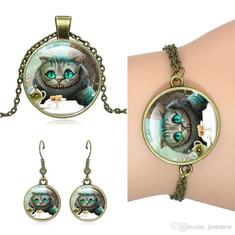 Hot!5Set Unique Vintage Bronze Jewelry Set Cheshire Cat art Glass Dome Pendant Necklace Stud Earrings Bracelets Set For Women Jewelry