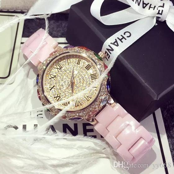 Édition limitée!! Céramique de diamant de luxe haute rose pour Gold Royal Watch cadeau Quartz Quartz! Bracelet Bracelet de mariage Dames Montres Robe Khads