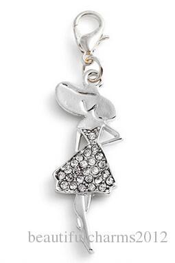 20st / lot silverpläterade rhinestones flicka flytande hängande charmar med hummerlås passform för kedjan locket halsband armband