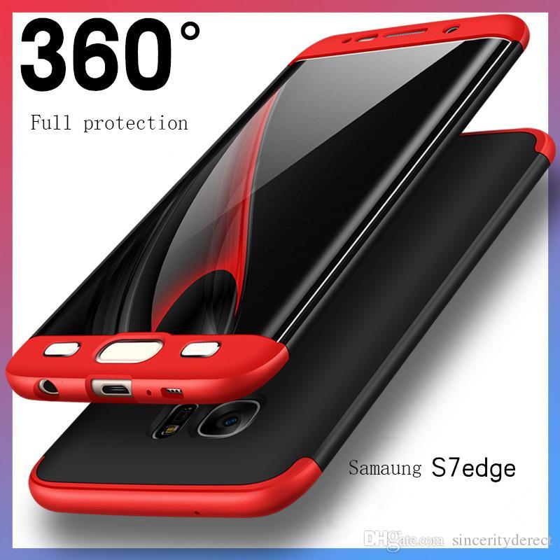 غطاء الهاتف الخلوي لجهاز Samsung Galaxy S7 S8 edge ، حافظة كاملة رقيقة PC + مطلي بالكهرباء 3 في 1