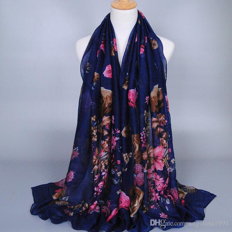Fashion printed flower designer cotton voile shawls headband multicolor popular hijab handband muslim long scarves/scarf