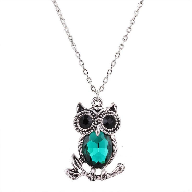 Naszyjniki mody Kobiety Czarowna Śliczna Sowa Rhinestone Łańcuch NecklacesSpendants Oświadczenie Swetry Biżuteria Akcesoria
