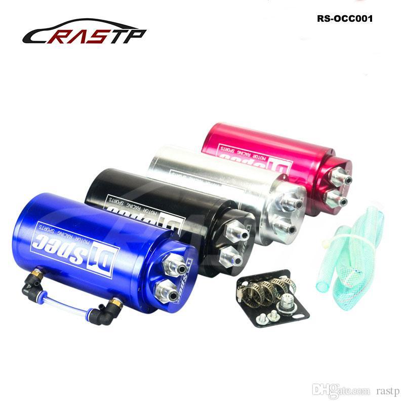 RASTP -Evrensel Alüminyum 10mm Yarış Turbo Motor Yağı yakala Tankı Can Rezervuar Performans Siyah Mavi Kırmızı Gümüş RS-OCC001