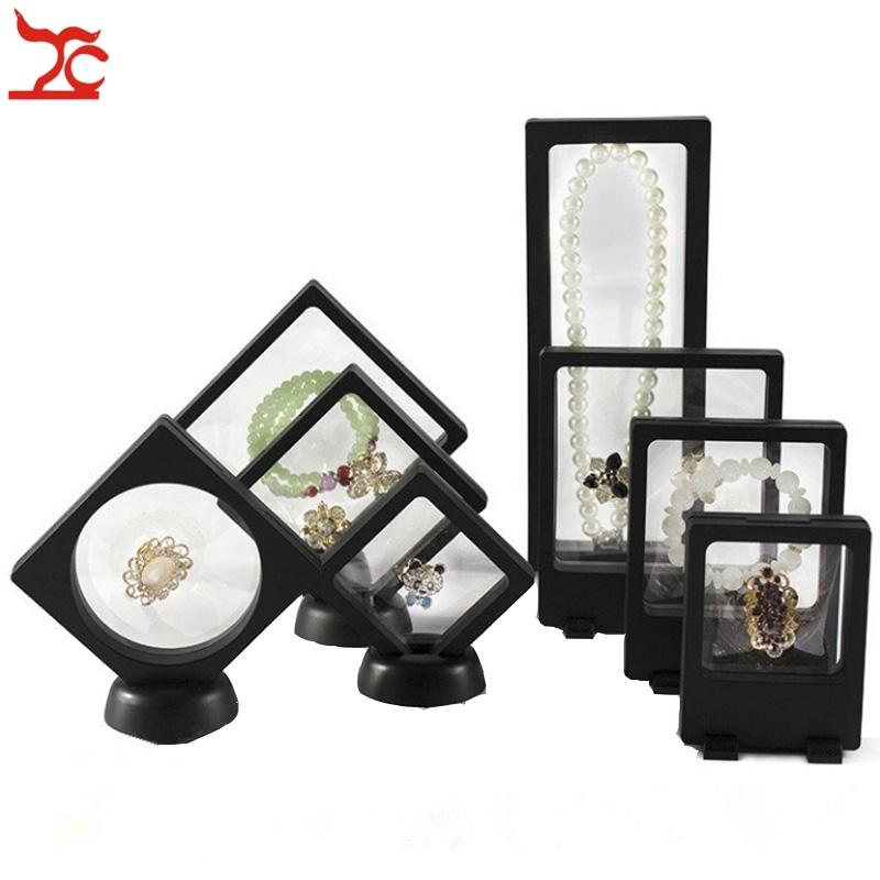 8Pcs PET Mebrane Jewelry Display Stand Black Ring Bracelet Necklace Earring Organizer Clear Accessorie Jewelry Watch Holder Box