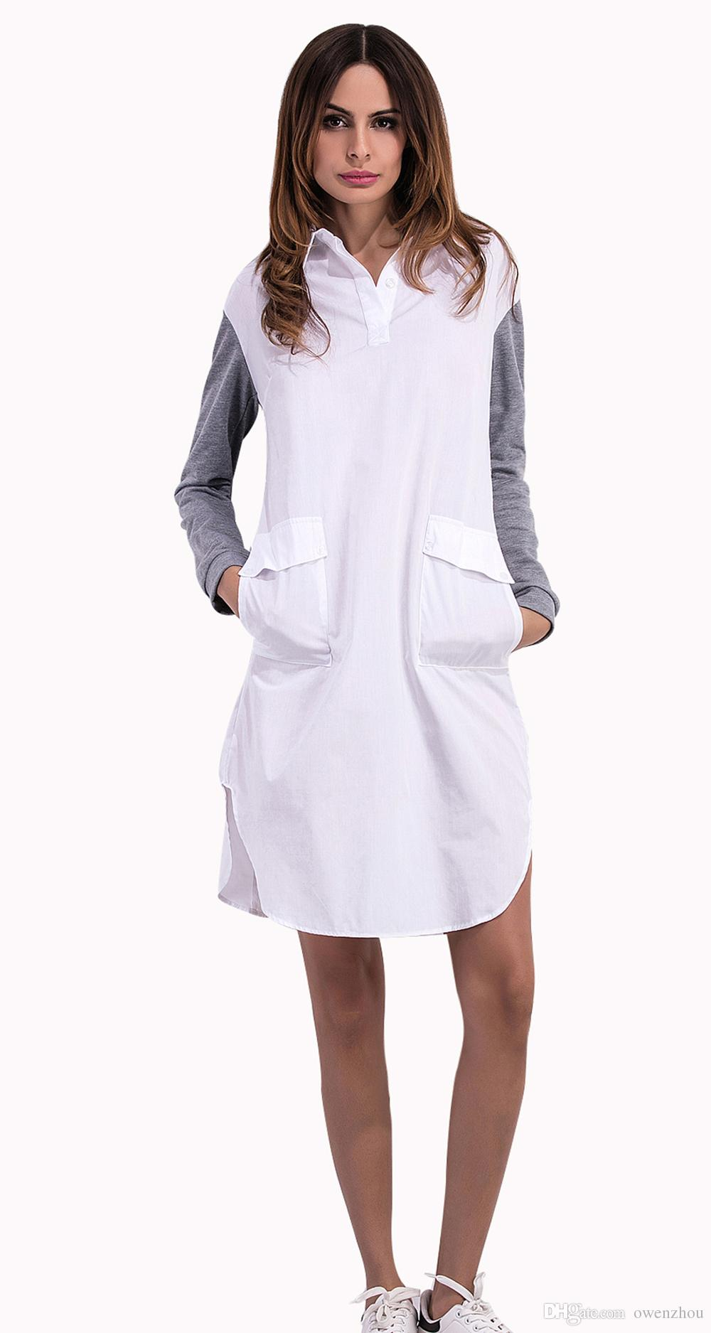Großhandel 15 Mode Revers Langarm Shirt Kleid Weißes Hemd Kleid Sommer  Aufflackernhülse Elegante Frau Kleid Freizeitkleidung Jersey Hülse Von