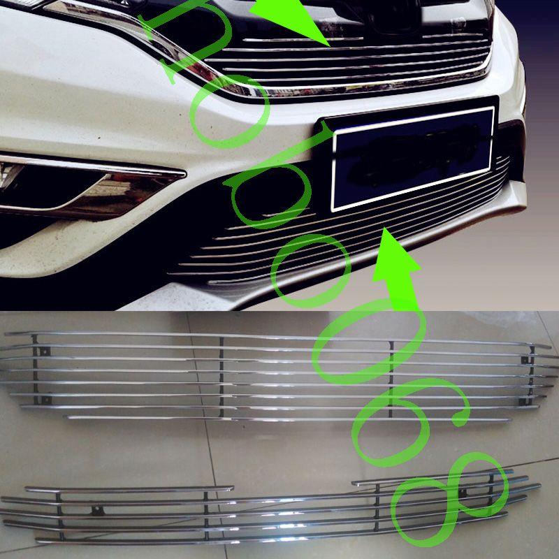 Pour Honda CRV 2015-16 Métal Grille Couverture voiture Stripes UPPER Garniture inférieure Grill Cadre Silvery