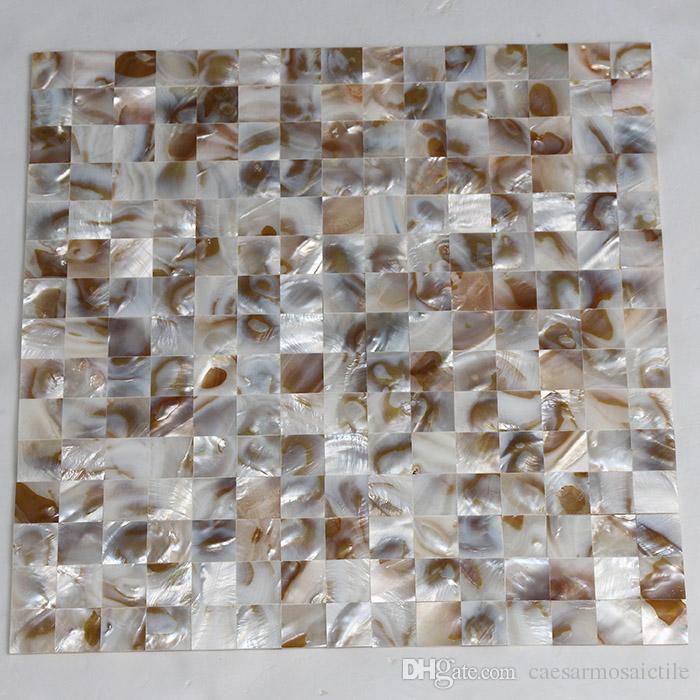[ÜCRETSİZ KARGO] 20x20mm inci kabuk mozaik, dikişsiz karo, örgü destekçisi, tatlı su kabuk karo doğal renk annesi (MS121)