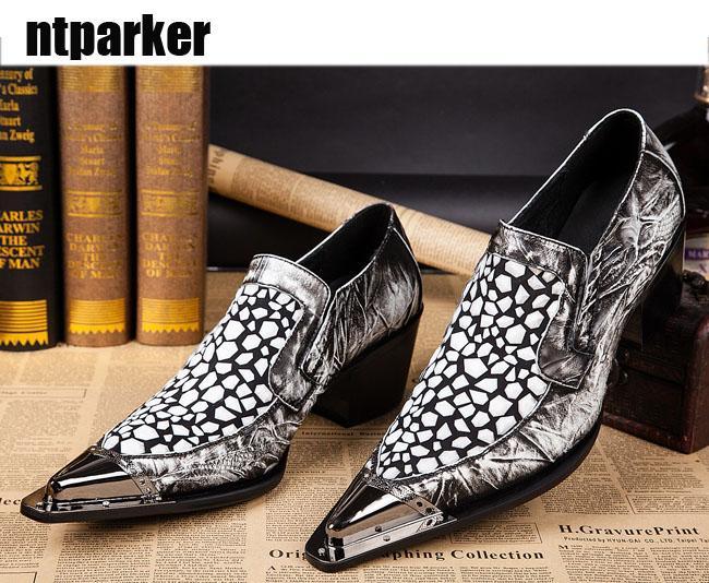 6,5 cm di altezza scarpe da uomo tacco a punta in metallo scarpe da lavoro in pelle affari T-shows nightclub uomo in pelle Zapatos Hombre, taglie forti 38-46