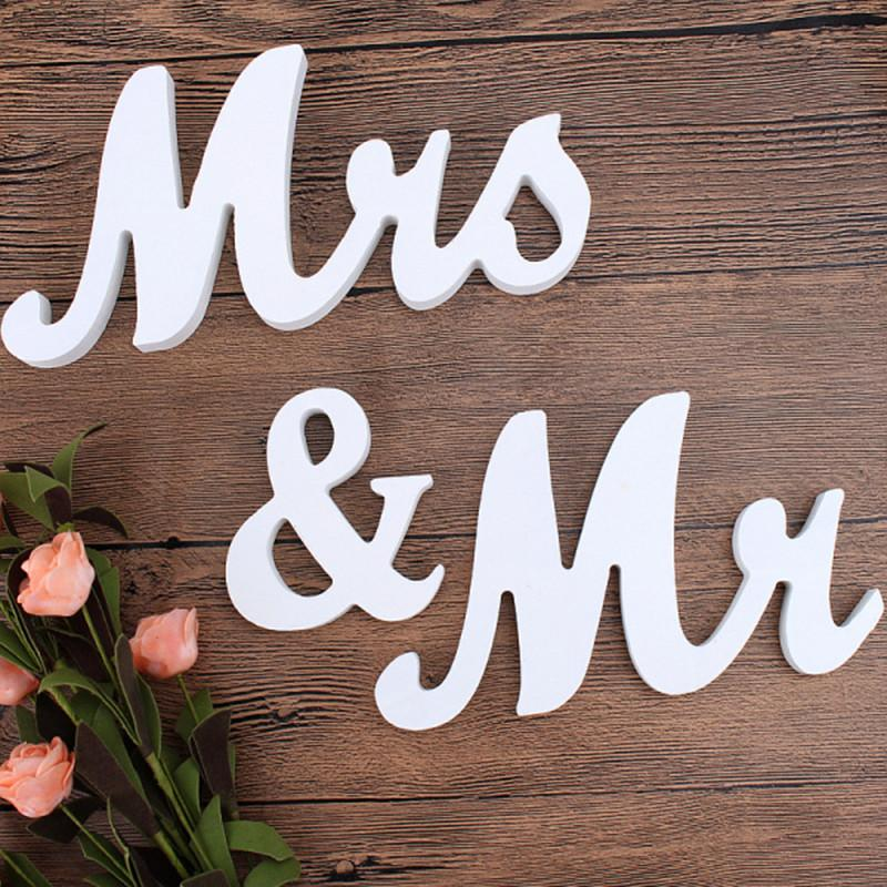 1 Set Romantic Vintage Mr & Mrs White Wooden Letters Sign Mariage Wedding Party Top Table Decoration Photography Photo Props
