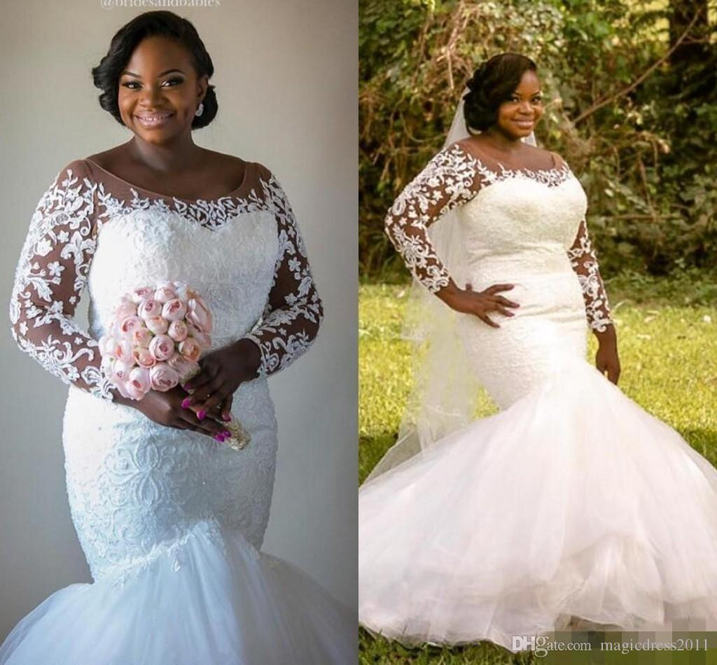 2019 Plus Size Mermaid Wedding Dresses With Illusion Long Sleeves Jewel  Heavily Embellishment Chapel Train Vintage Garden Beach Bridal Gowns 2015  ...