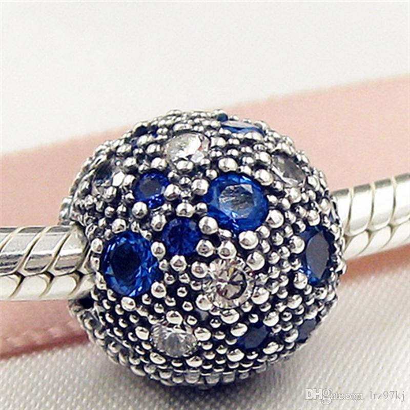 100% 925 Sterling Silver Cosmic Stars Clip Charm Bead with Blue Cz Fits European Pandora Jewelry Bracelets & Necklaces