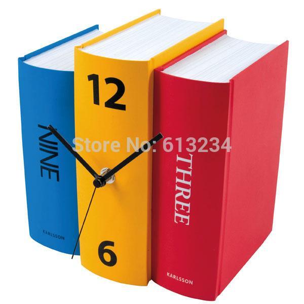 Wholesale-Free Shipping 1Piece Book Set Desk Clock Novelty Karlsson Books Clock Home Alarm Clock