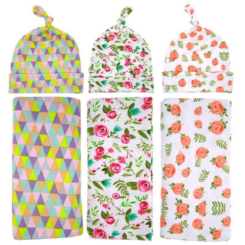 الوليد الطفل قماط التفاف بطانية قبعة الأزهار منقوشة نمط عقدة قبعات مجموعة الرضع القطن التفاف القماش الشبكة الجلباب BHB05