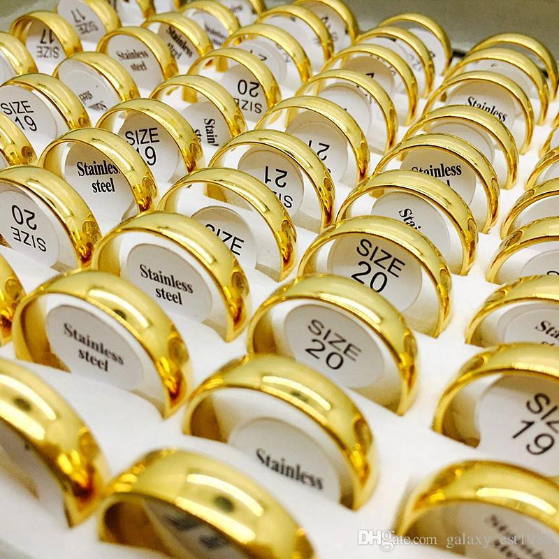 All'ingrosso Lots Lotti Golden Mens Womens Moda Moda Acciaio In Acciaio Inox Anelli di Brand New Engagement Wedding Ring