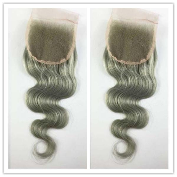 """4 * 4inch 10 """"-20"""" Perulu İnsan Saç Brezilyalı Vücut Dalga Saf Gümüş Gri insan saçı Üst Kapatma ağartılmış Knot hızlı nakliye"""