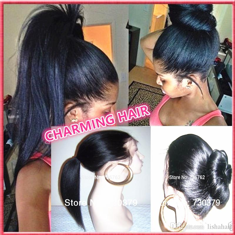 Yaki straight Full lace wig &Front Lace wig Brazilian Virign human hair yaki straight wigs with baby hair Free shipping DHL