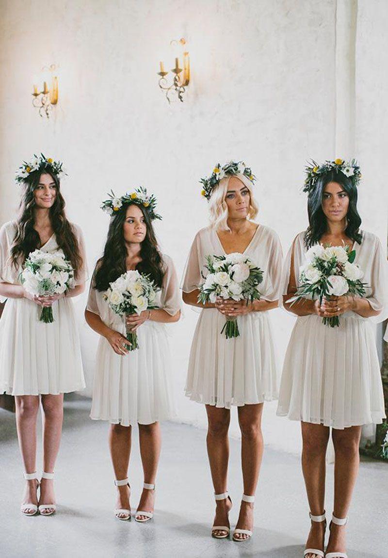 Summer Beach Short Bridesmaid Dresses 2019 Chiffon A Line V Neck