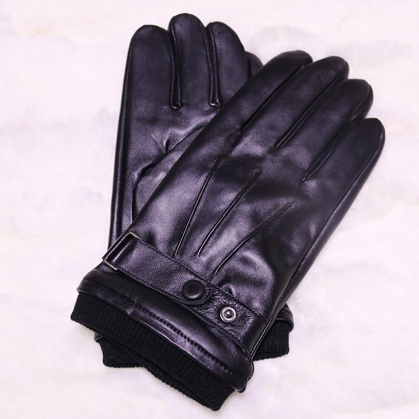 Wholesale- Male Genuine Leather Gloves Wrist Warm Winter Mittens Hot Sale Thick Free Shipping Winter Gloves Adult Real Fur Men's Gloves