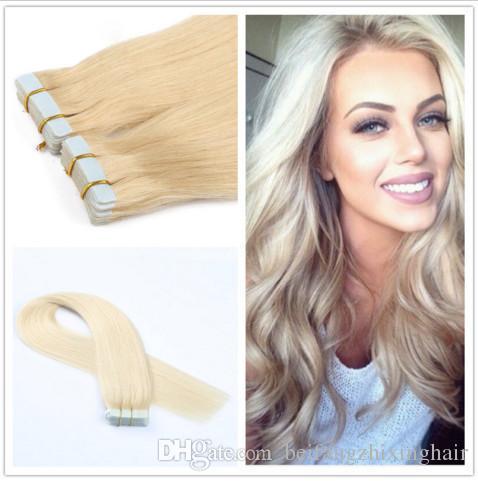 Grade 5A!!!brazilian remy human hair straight hair PU tape hair Extensions 14''-24'' 613# light blonde 2g/s 80/pack 40pcs dhl free