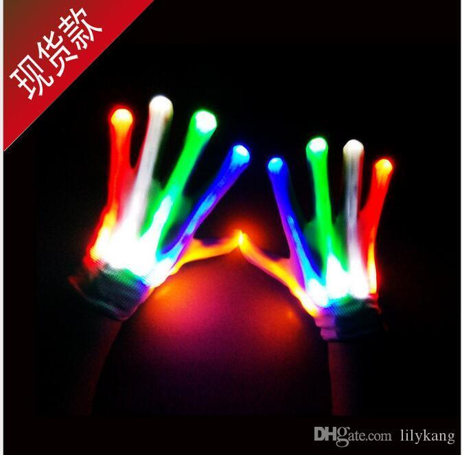 Cyclisme a conduit des gants légers performances scéniques accessoires conduit Gants d'éclairage des doigts Halloween gants de crâne fantôme dirigé gant cosplay party rave jouet