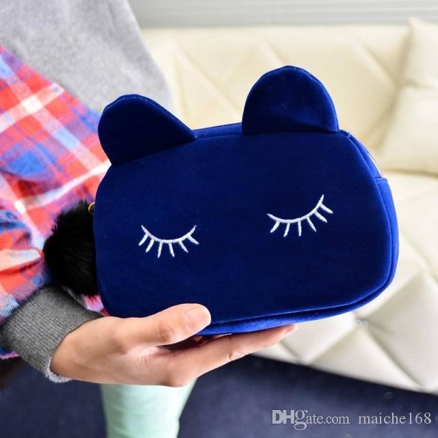 2017 Nova moda bonito camurça gato maquiagem bolsa segurando bolsa