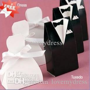 Stock 2021 Moda WhiteBlack Flower Bride Groom Txedo Wedding Candy Favor Favor Box Regalos 100 / Lot