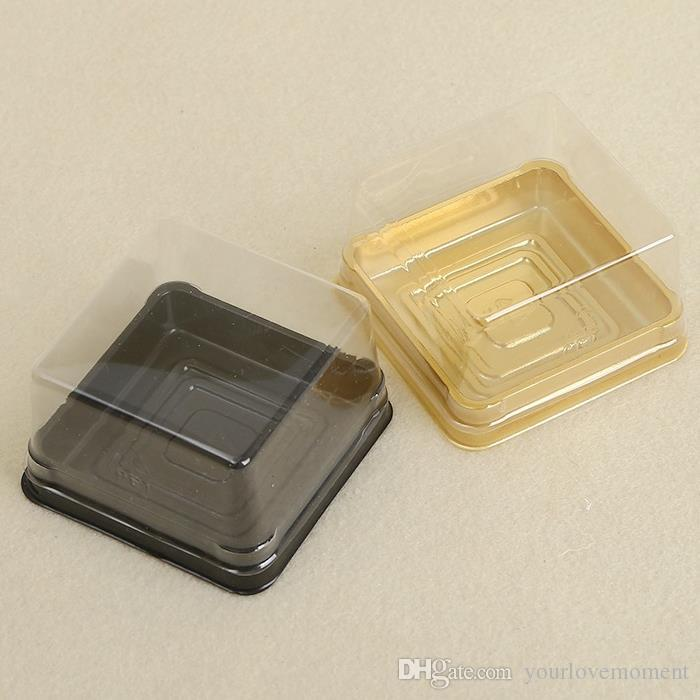 50pcs=25sets 6.8*6.8*4cm Black&Gold Bottom Mini Size Plastic Cake Box Cupcake Container Wedding Favor Boxes Supplies