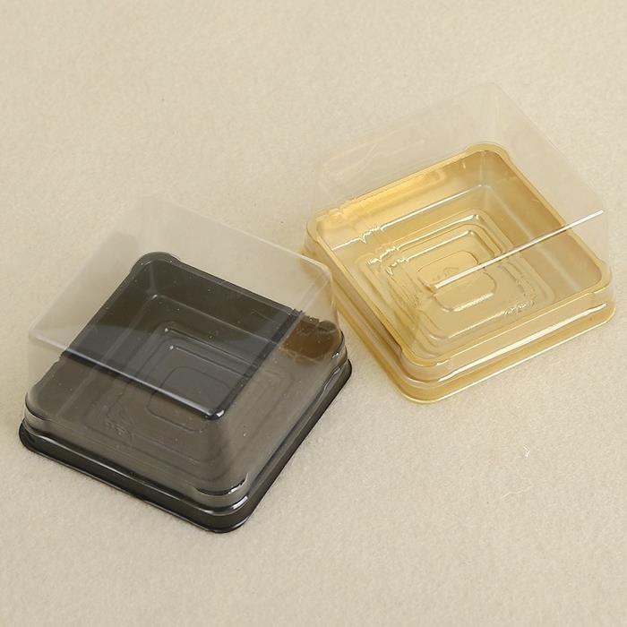 50 stücke = 25 sets 6,8 * 6,8 * 4 cm BlackGold Bottom Mini Größe Kunststoff Kuchen Box Cupcake Container Hochzeitsbevorzugungskästen Liefert