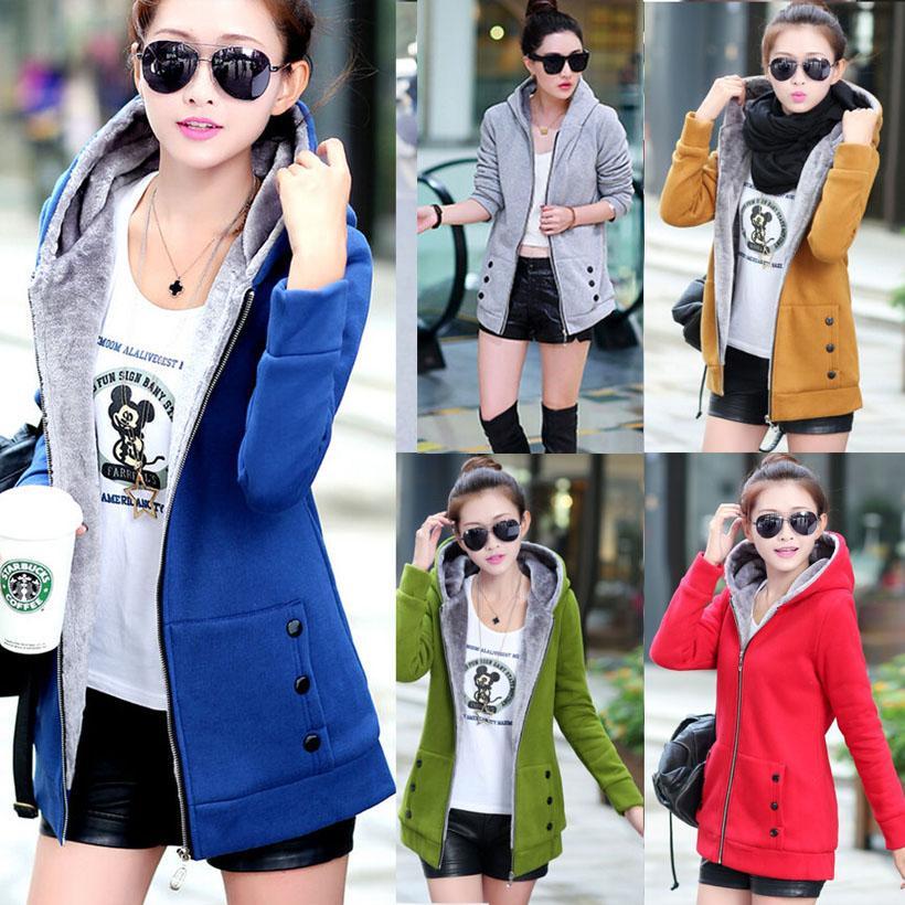 Gros- Femmes Mode hiver chaud en polaire Parka à capuche Manteau Pardessus Veste longue Outwear Casual Zipper vêtements Veste femme taille plus