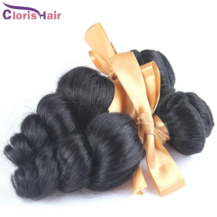 Discount Mix 2 Bundles Loose Curly Wave Brazilian Virgin Hair Weave Cheap Brazillian Loose Wavy Human Hair Extensions 1b Full Cuticle