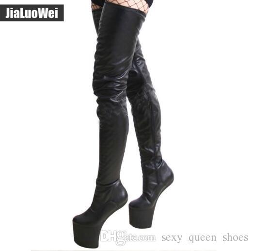 Ücretsiz Kargo Moda Kadınlar Özel Çizmeler Seksi Over-The-Diz Uyluk Yüksek Çizmeler Yüksek topuklu Bale Dans Ayakkabıları Topuk Topuk Platformu Takozlar Ayakkabı